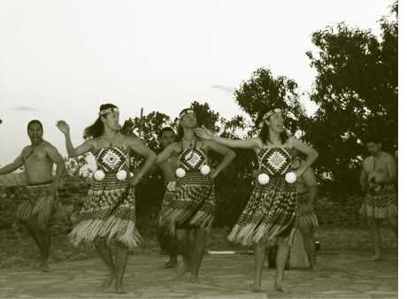 Sandoval Signpost - Maoris from New Zealand perform welcome dance on Santa Ana Pueblo.